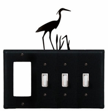 GFI and Triple Switch Cover, Heron, Wrought Iron