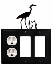 Outlet and Double GFI Cover, Heron, Wrought Iron
