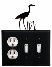 Outlet and Double Switch Cover, Heron, Wrought Iron
