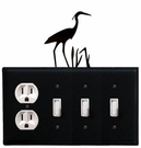 Outlet and Triple Switch Cover, Heron, Wrought Iron