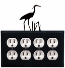 Quad Outlet Cover, Heron, Wrought Iron