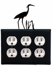 Triple Outlet Cover, Heron, Wrought Iron