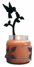 Wall Sconce, Candle Jar Holder, Hummingbird, Wrought Iron