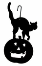Jack-O-Lantern & Cat, Hanging Art, Wrought Iron
