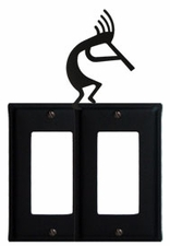 Double GFI Cover, Kokopelli, Wrought Iron