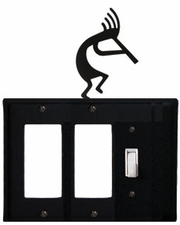 Double GFI and Switch Cover, Kokopelli, Wrought Iron