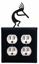 Double Outlet Cover, Kokopelli, Wrought Iron