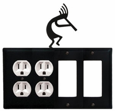 Double Outlet & Double GFI Cover, Kokopelli, Wrought Iron