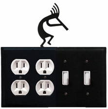 Double Outlet & Double Switch Cover, Kokopelli, Wrought Iron