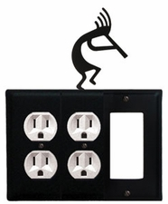Double Outlet and GFI Cover, Kokopelli, Wrought Iron