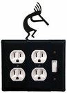 Double Outlet and Switch Cover, Kokopelli, Wrought Iron