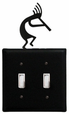 Double Switch Cover, Kokopelli, Wrought Iron