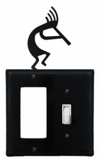 GFI and Switch Cover, Kokopelli, Wrought Iron