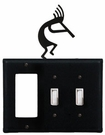 GFI and Double Switch Cover, Kokopelli, Wrought Iron