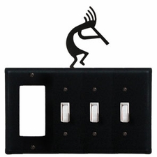 GFI and Triple Switch Cover, Kokopelli, Wrought Iron