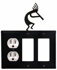 Outlet and Double GFI Cover, Kokopelli, Wrought Iron
