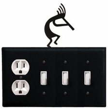 Outlet and Triple Switch Cover, Kokopelli, Wrought Iron