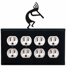 Quad Outlet Cover, Kokopelli, Wrought Iron