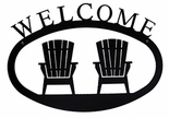 Welcome Sign, House Plaque, Adirondack Chairs, Wrought Iron, Large