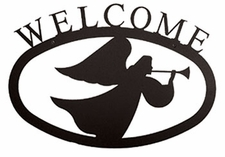 Welcome Sign, Angel, Wrought Iron, Large