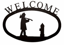 Welcome Sign, Fireman, Wrought Iron, Large