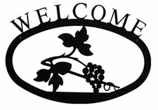 Welcome Sign, House Plaque, Grapevine, Wrought Iron, Large
