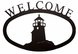 Welcome Sign, House Plaque, Lighthouse, Wrought Iron, Large