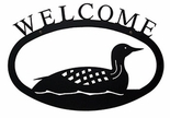 Welcome Sign, House Plaque, Loon, Duck, Wrought Iron, Large