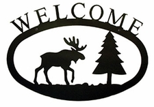 Welcome Sign, House Plaque, Moose, Pine Trees, Wrought Iron, Large