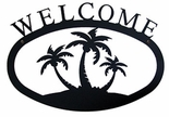 Welcome Sign, House Plaque, Palm Trees, Wrought Iron, Large