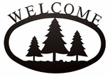 Welcome Sign, House Plaque, Pine Trees, Wrought Iron, Large