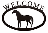 Welcome Sign, House Plaque, Horse, Wrought Iron, Large