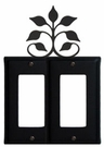 Double GFI Cover, Leaf Fan, Wrought Iron