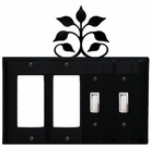 Double GFI & Double Switch Cover, Leaf Fan, Wrought Iron