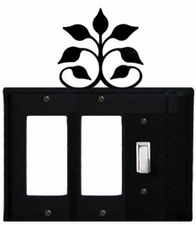 Double GFI and Switch Cover, Leaf Fan, Wrought Iron