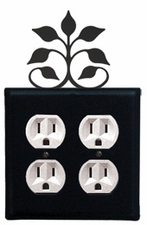 Double Outlet Cover, Leaf Fan, Wrought Iron