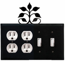 Double Outlet & Double Switch Cover, Leaf Fan, Wrought Iron