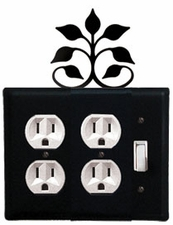 Double Outlet and Switch Cover, Leaf Fan, Wrought Iron