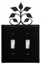 Double Switch Cover, Leaf Fan, Wrought Iron