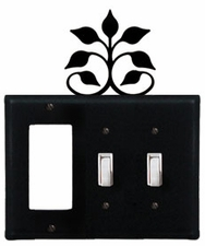 GFI and Double Switch Cover, Leaf Fan, Wrought Iron