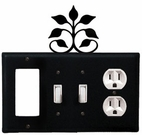 GFI, Double Switch and Outlet Cover, Leaf Fan, Wrought Iron