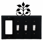 GFI and Triple Switch Cover, Leaf Fan, Wrought Iron