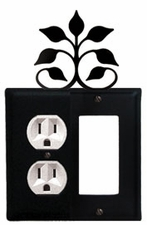 Outlet and GFI Cover, Leaf Fan, Wrought Iron