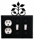 Outlet and Double Switch Cover, Leaf Fan, Wrought Iron