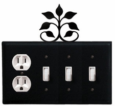 Outlet and Triple Switch Cover, Leaf Fan, Wrought Iron
