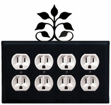 Quad Outlet Cover, Leaf Fan, Wrought Iron