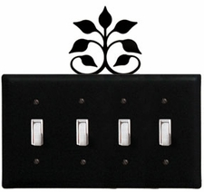 Quad Switch Cover, Leaf Fan, Wrought Iron