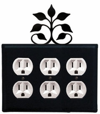 Triple Outlet Cover, Leaf Fan, Wrought Iron