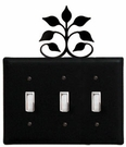 Triple Switch Cover, Leaf Fan, Wrought Iron
