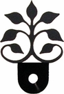 Silhouette for Cabinet Door, Leaf Fan, Black Wrought Iron